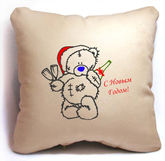 """Новогодняя подушка """"Мишка Teddy - C Новым Годом!"""""""