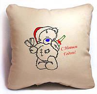 """Новогодняя подушка """"Мишка Teddy - C Новым Годом!"""" , фото 1"""