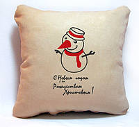 """Новогодняя подушка """"Снеговичок. С Новым годом и Рождеством"""" 17"""