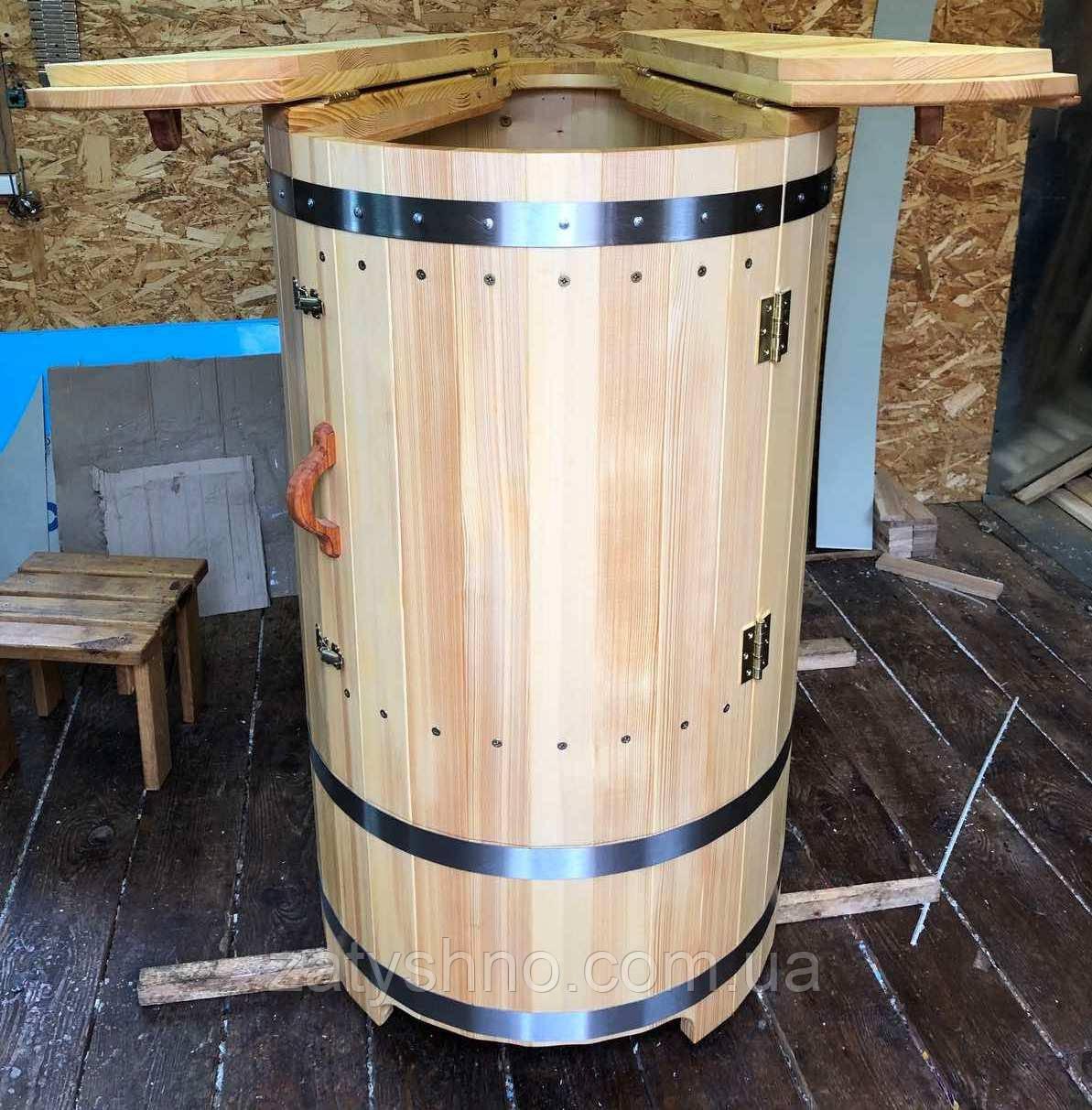 Фитобочка 1 метр в диаметре деревянная с сидушкой из смереки
