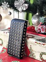 Гаманець жіночий оригінальний чорний з декором, екошкіра 0028