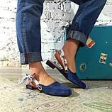 Мюли с завязками, цвет синий, фото 2