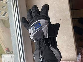 Тёплые рукавицы Thinsulate на мото вело горнолыжные сноуборд Перчатки на меху влагостойкие, фото 2
