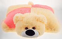 Подушка Алина мишка 55 см персиковый и розовый, фото 1