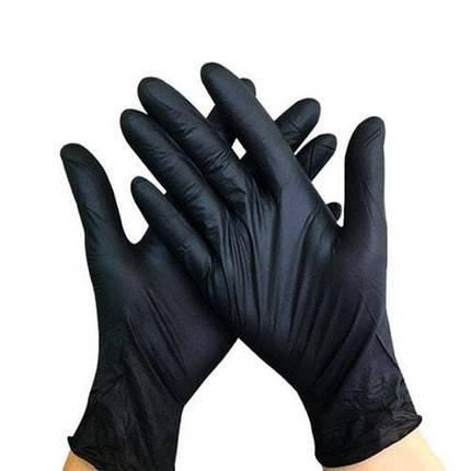 Перчатки нитриловые Prestige Medical черные М, 100 шт, фото 2