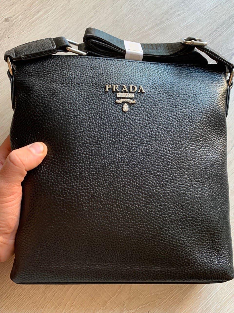 Черная Сумка Мессенджер Prada