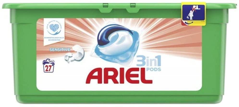 Дитячі універсальні капсули для прання Ariel Sensitive 3в1 27 шт.