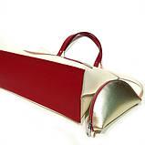 Сумка-шоппер из кожи double-face и вышивкой, цвет молочный/ красный/ пудра, фото 6