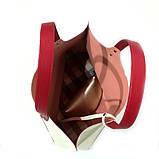 Сумка-шоппер из кожи double-face и вышивкой, цвет молочный/ красный/ пудра, фото 5