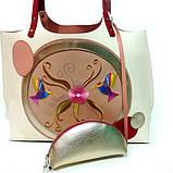 Сумка-шоппер из кожи double-face и вышивкой, цвет молочный/ красный/ пудра, фото 4