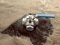 """Кран шаровый нержавеющий трёхходовой с площадкой под привод """"L""""-образный 2"""", фото 1"""