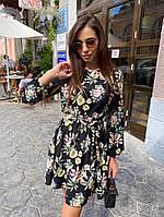 Женское базовое платье с цветами