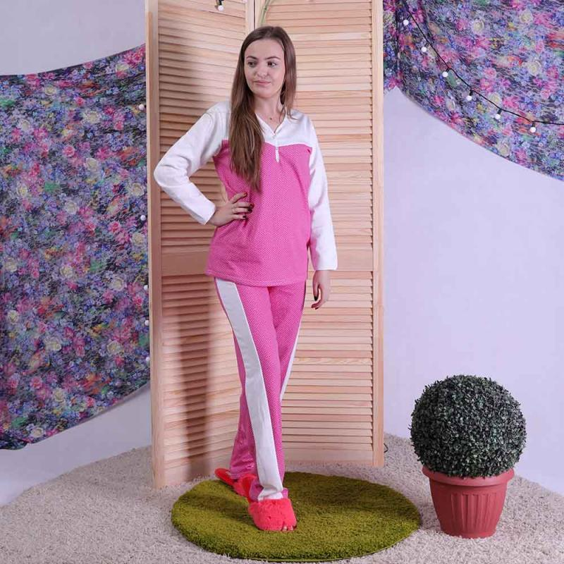 Пижама теплая женская с начесом розовая 44-60 р.