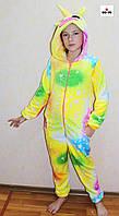 Пижама махровый кигуруми Единорожка детский теплый желтый р. 34-40