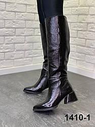 Чоботи жіночі шкіряні чорні євро зима