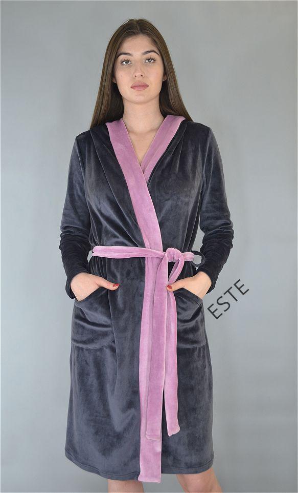 Халат женский теплый с капюшоном и карманами плюшевый серый.