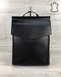 Кожаная сумка рюкзак молодежный черного цвета 1300063982
