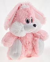 Плюшевый Зайчик Алина сидячий 35 см розовый, фото 1