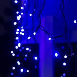 Новогодняя уличная гирлянда БАХРОМА 100 LED 4,5 м * 0, 7 м, черный каучук 3.3 мм, синий (с режимами), фото 3