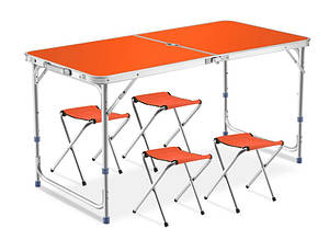 Раскладной стол для пикника с 4 стульями алюминиевый 120Х60Х70 см NBZ Оранжевый