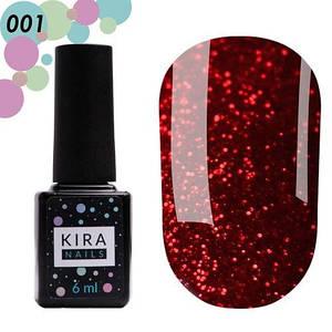 Гель-лак Kira Nails Hot Peppers №001 рубиновый с ярко-красными блестками 6 мл