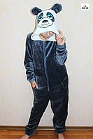 Кигуруми пижама детский махровая на молнии теплый синий панда р. 34-40