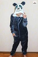 Кигуруми піжама дитячий махрова на блискавці теплий синій панда р. 34-40