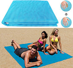 Пляжная подстилка покрывало анти-песок NBZ Sand Free Beach Mat для моря и пикника 200x150 см Blue