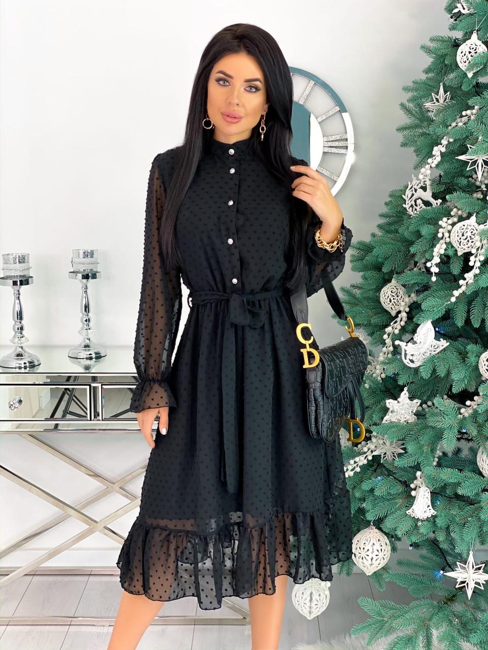Женское чёрное платье шифоновое