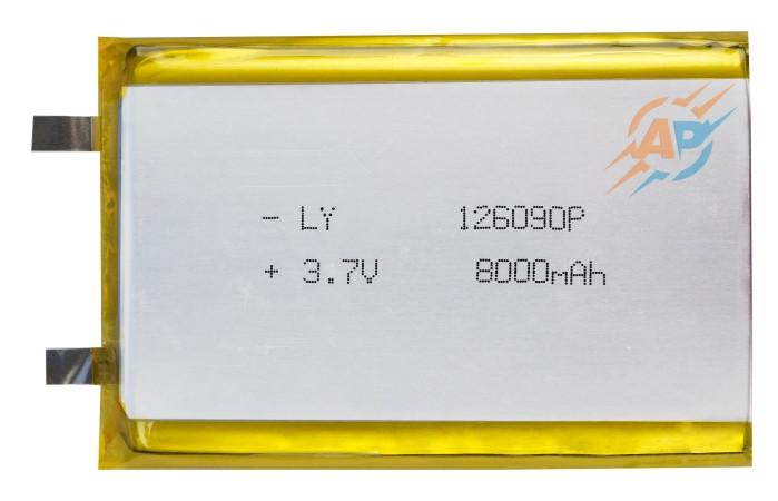 Аккумулятор литий-полимерный 8000mAh, 3.7v, 126090 без контроллера