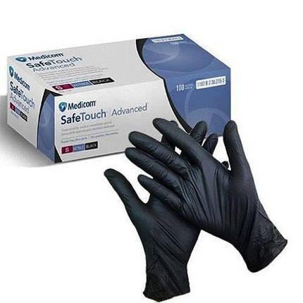 Перчатки медицинские Medicom Safe Touch нитриловые размер S черные 100 шт, фото 2