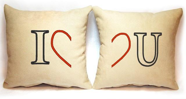 "Набор из двух подушек ""I love U"""