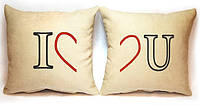 """Набор из двух подушек """"I love U"""", фото 1"""