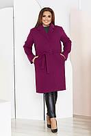 Пальто женское большого размера So StyleM кашемировое Марсала