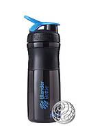 Спортивная бутылка-шейкер BlenderBottle SportMixer 820ml Black/Cyan (ORIGINAL), фото 1