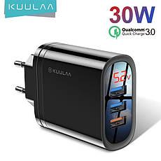 Зарядное устройство KUULAA KL-CD10 30 вт 3 USB порта Быстрая зарядка Quick Charge QC3.0 White, фото 2