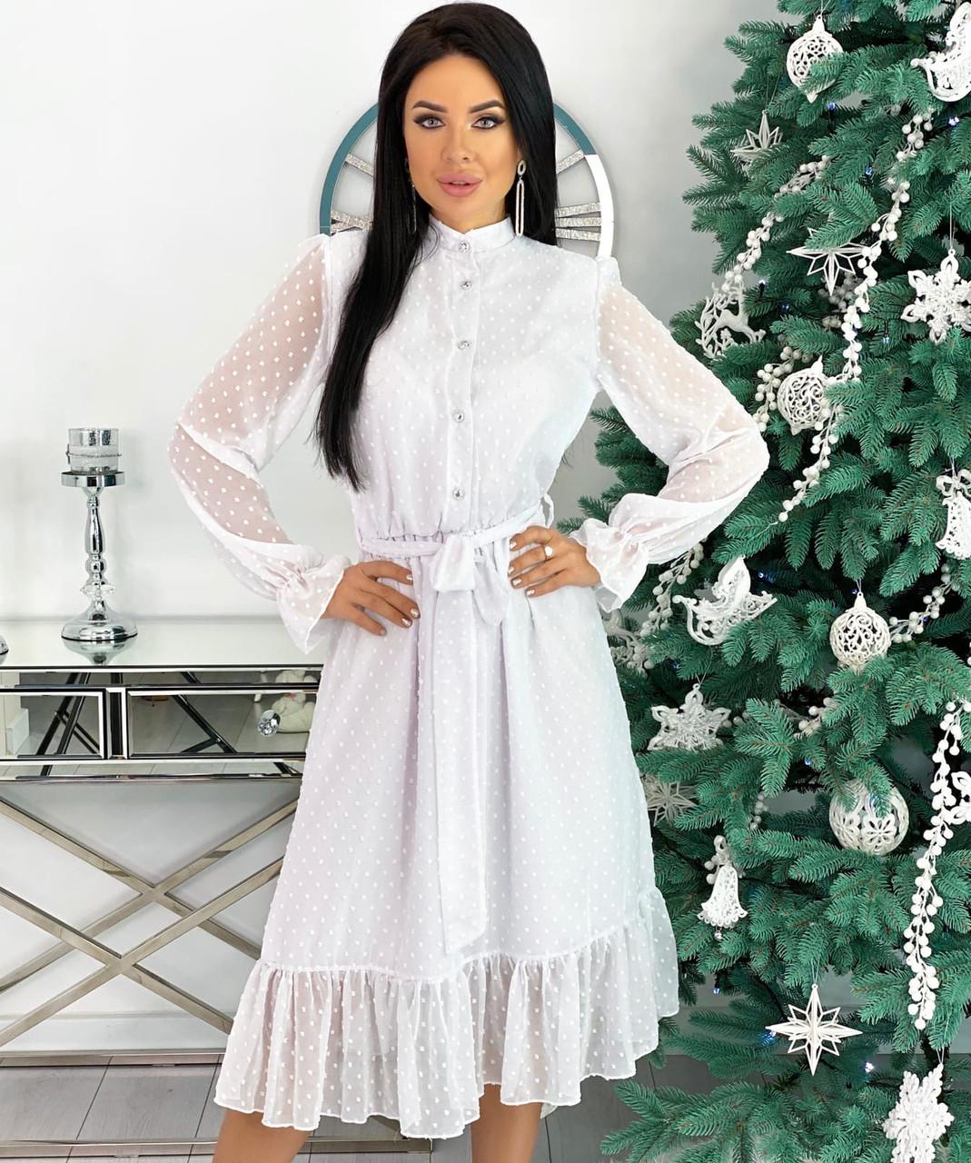 Женское белое платье шифоновое