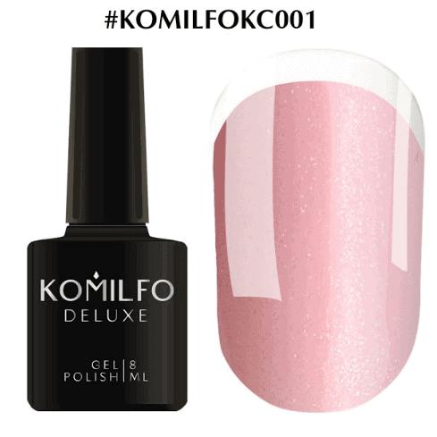 Komilfo KC Glitter Rubber French Base №KC001 светло-розовый с золотым микроблеском 8 мл