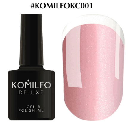 Komilfo KC Glitter Rubber French Base №KC001 светло-розовый с золотым микроблеском 8 мл, фото 2