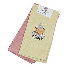 Полотенце кухонное вафельное Кофе хлопок, 40x60см (комплект 2 шт)