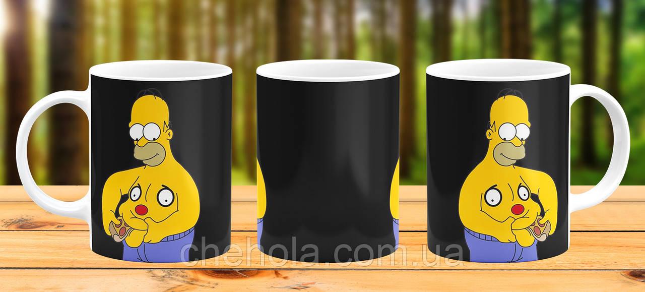 Оригінальна гуртка з принтом Гомер Сімпсон Прикольна чашка подарунок хлопцю папі