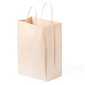 Бумажный пакет с кручеными ручками 210*120*290 бурый, фото 2