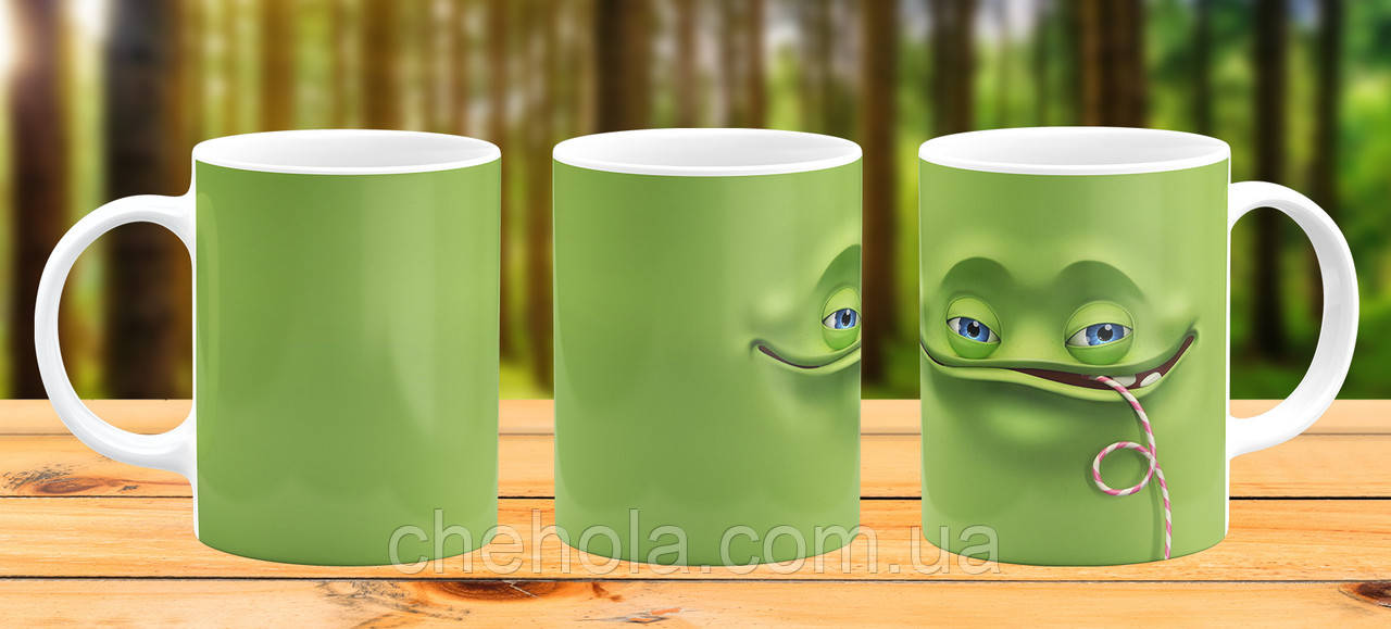 Оригинальная кружка с принтом Зеленый монстр Прикольная чашка подарок Родственнику