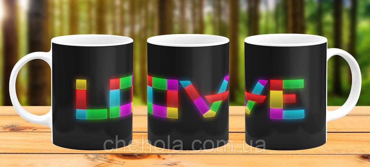 Оригинальная кружка с принтом Love Прикольная чашка подарок девушке жене