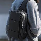 Однолямочный рюкзак Bange BG-77107 мужской городской USB-порт 5л черный, фото 3