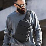 Однолямочный рюкзак Bange BG-77107 мужской городской USB-порт 5л черный, фото 5