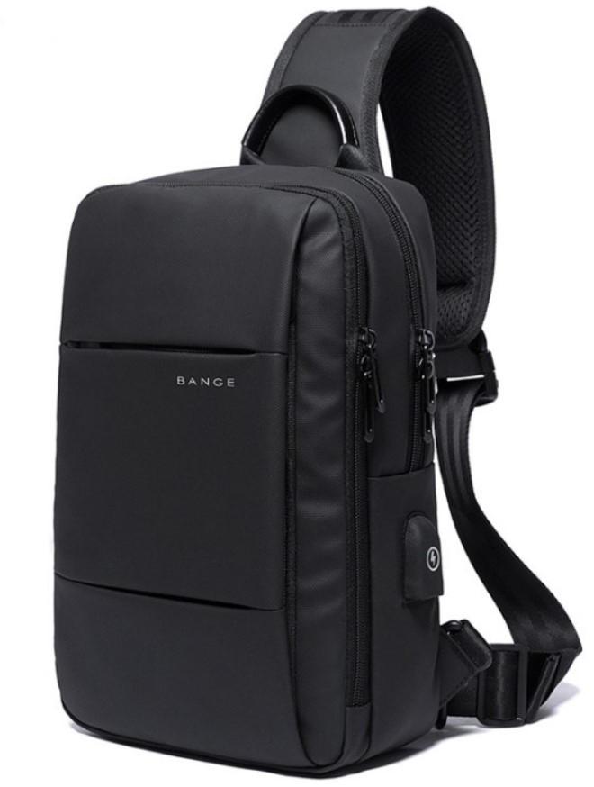 Однолямочный рюкзак Bange BG-77107 мужской городской USB-порт 5л черный
