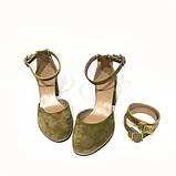 Туфли-деленки из комбинации замша и кожи под рептилию, цвет оливковый, фото 3