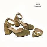 Туфли-деленки из комбинации замша и кожи под рептилию, цвет оливковый, фото 2