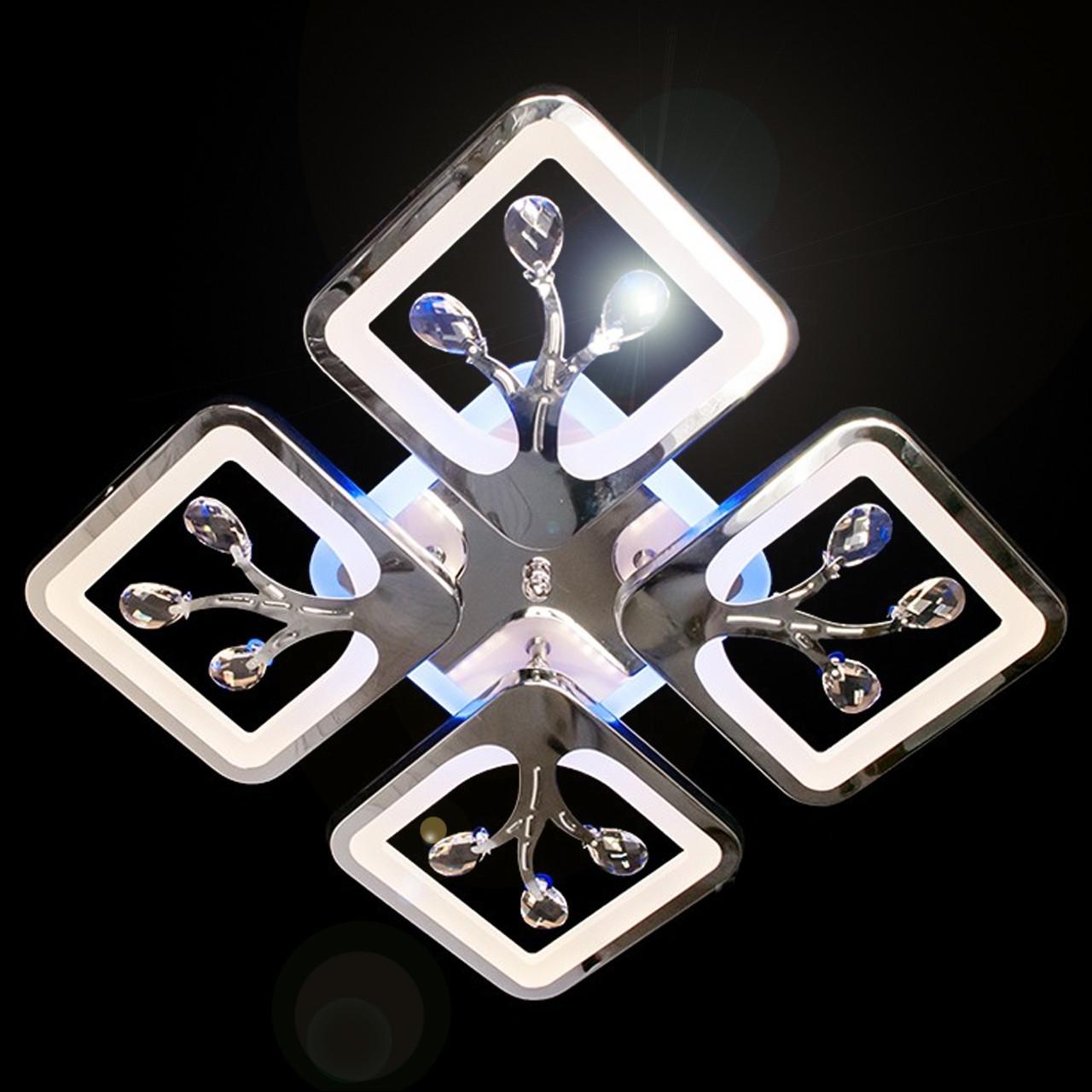 Хромированная светодиодная люстра квадраты 85 Вт с лед подсветкой и диммером D-S9068/4HR LED